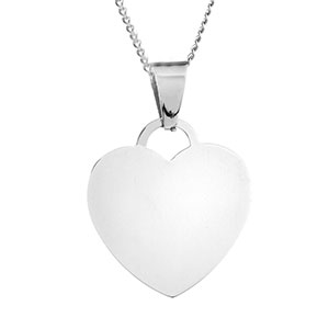 Silver Heart Engraved Necklace for Her