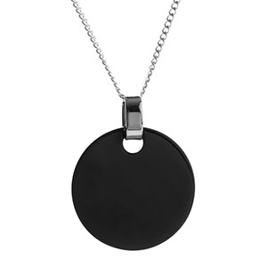 Deep Black Personalized Round Charm Necklace