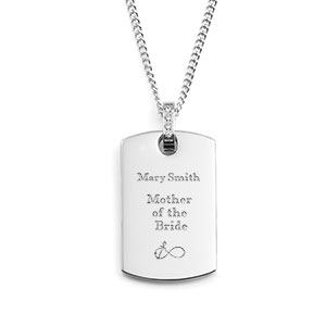 Silver Personalized Necklace with CZ Bale