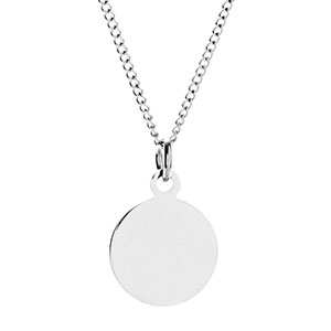 Round Silver Custom Necklace 5/8 inch
