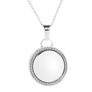 Classy Bordered Silver Personalized Necklace
