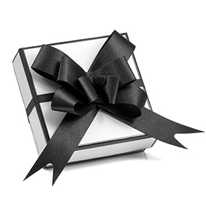 White Gift Box with Elegant Black Bow for Jewelry