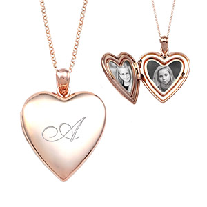 Rose Gold Heart Engraved Lockets