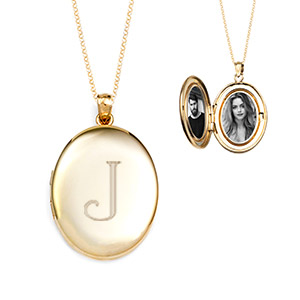 Gold Filled Oval Engraved Locket Necklace