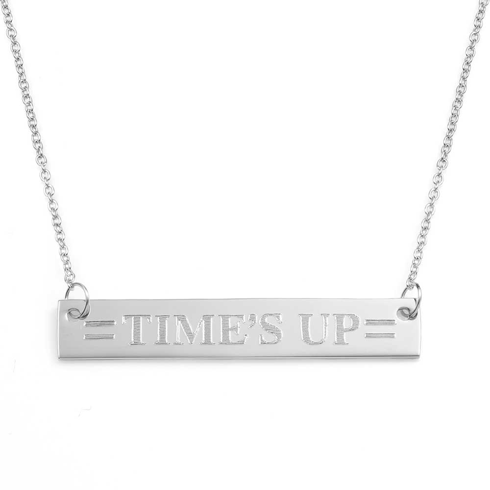 Times UP Thin Engraved Bar Necklace