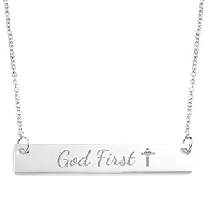 God First Skinny Engraved Bar Necklace
