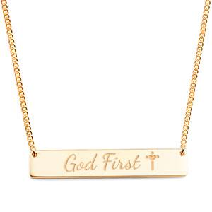 Slender Gold God First Bar Necklace