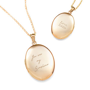 Gold Engraved Handwriting Locket Necklace
