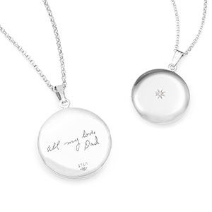 Diamond & Silver Personalized Locket Handwriting Necklace