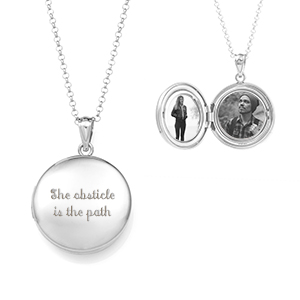 Contemporary Silver Round Locket Necklace