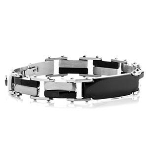 Steel & Black Link Mens Engraved Bracelet