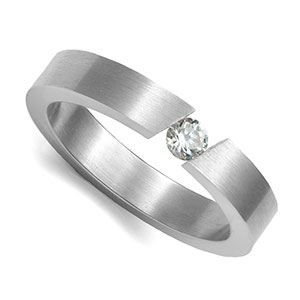 CZ Stone Brushed Stainless Engravable Rings
