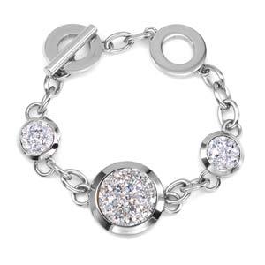 Treasure Trove Crystal Engraved Silver Bracelet
