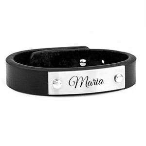 Adjustable Black Leather Engravable Bracelet