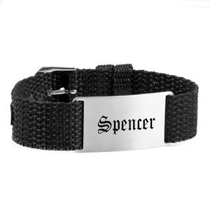 Adjustable Black Personalized Bracelet