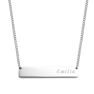 Adjustable Engravable Silver Bar Necklace