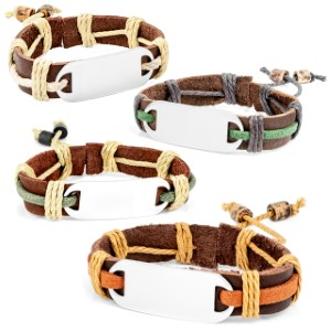 Adjustable Rustic Hemp Personalized Leather Bracelets