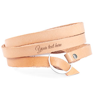 Adjustable Tan Wrap Leather Personalized Bracelet