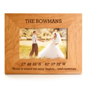 Alder Engraved Coordinates Wood Picture Frames