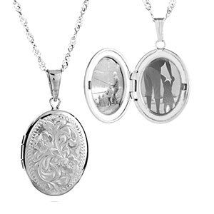 Intricately Silver Oval Engraved Lockets