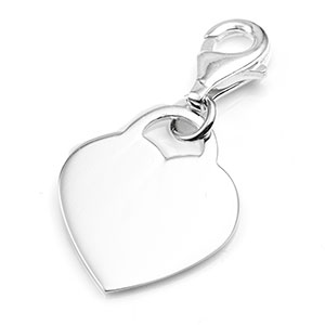 Sterling Silver Engraved Heart Charm with Lobster Clasp 3/4 In