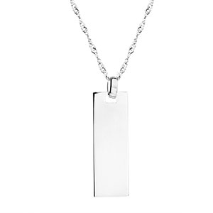 Custom Engraved Silver Bar Pendant