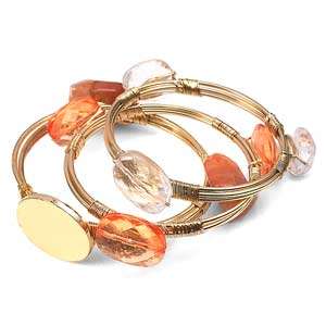 Tangerine Dream Engraved Wire Wrap Bracelet Set with Stones