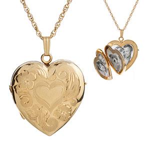 14K Gold Filled 4 Photo Heart Locket