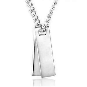 Silver Engraved Double Dog Tag Bar Pendant Necklace