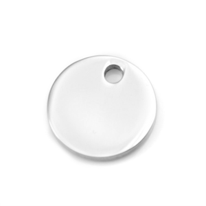 Round Stainless Steel Engraved Pendant for Ball Chains 5/8 Inch