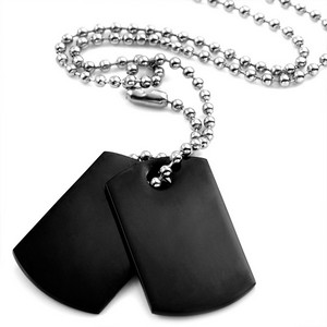 Black Stainless Engraved Double Dog Tag Necklace