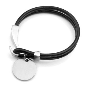 Genuine Black Leather Engraved Charm Bracelet