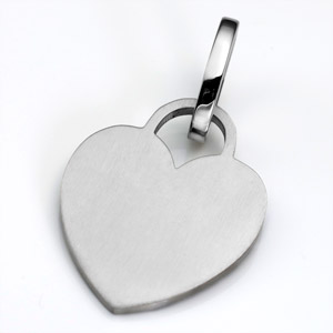 LG Brushed Stainless Heart ID Tag for Purses, Pets, & More