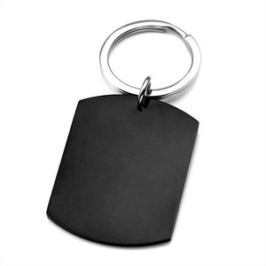 Large Black Stainless Steel Dog Tag Personalized Keychains