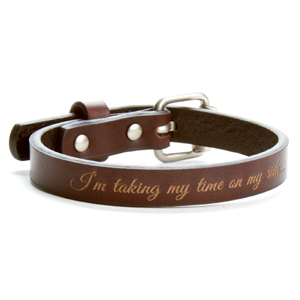 Buckle Up Personalized Brown Leather Strap Bracelet