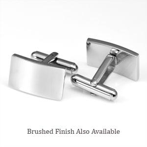 Rectangular Engraved Cufflinks Stainless Steel