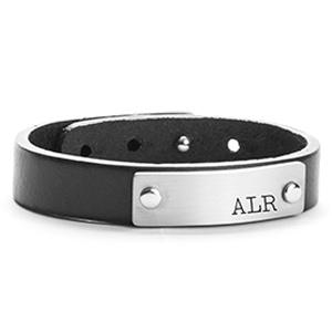 Adjustable Black Leather ID Bracelet