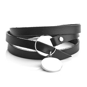 Personalized Adjustable Black Leather Charm Bracelet