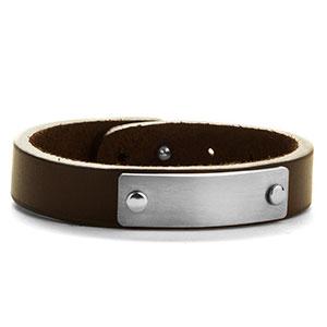 Adjustable Brown Leather ID Bracelet