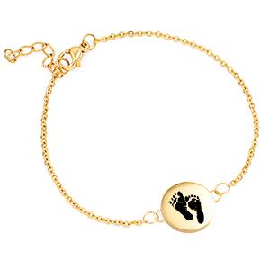 Baby Footprint Jewelry - Dainty Gold Custom Bracelet