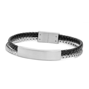 Black and Silver Designer Leather Engravable Bracelet