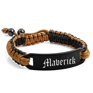 Black Cocoa Custom Engraved Bracelet for Him