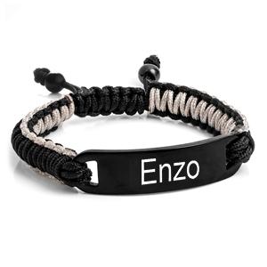 Black & Gray Macrame Custom Engraved Bracelet for Him