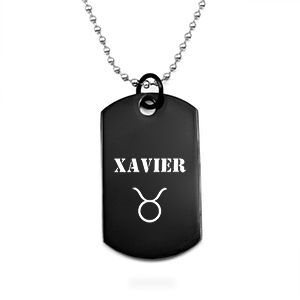 Black Stainless Personalized Dog Tag Necklace