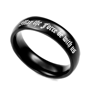 Black Steel Thin Band Engraved Rings