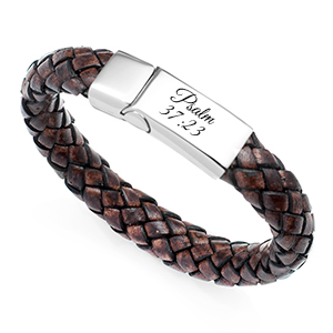 Braided Brown Leather & Stainless ID Bracelet 8 Inch