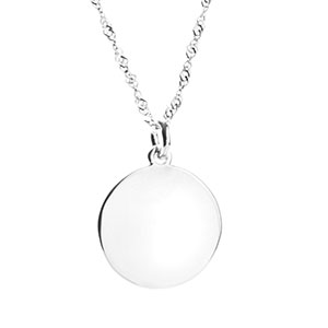 Brilliant Engravable Sterling Silver Necklace Pendant