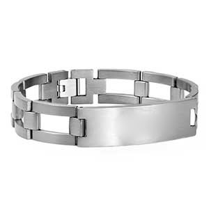 Brushed Titanium Mens Bracelet 9 inch