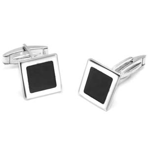 Sterling Silver Black Accent Square Cufflinks