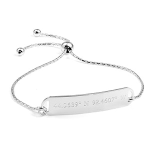Custom Coordinates Engraved Silver Bracelet for Her